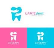 Wektorowa zębu i ręk loga kombinacja Stomatologiczna klinika, uścisk ikona i symbol lub Unikalny wklęśnięcie i medyczny logotyp ilustracja wektor