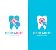 Wektorowa zębu i stuknięcia loga kombinacja Stomatologiczna klinika, kursor ikona i symbol lub Unikalny wklęśnięcie i medyczny lo royalty ilustracja