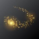 Wektorowa złota magiczna różdżka z jarzeniowym lekkim skutkiem na przejrzystym tle Obraz Stock