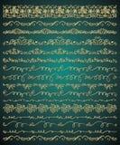 Wektorowa Złota ręka Kreślił Bezszwowe granicy royalty ilustracja
