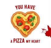 Wektorowa zabawy walentynki karta Ty pizzę mój serce ilustracja wektor