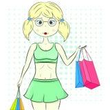 Wektorowa zakupy dziewczyna z torbami na zakupy ilustracji