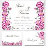 Wektorowa zaproszenie karta z różami dla poślubiać, małżeństwo, urodziny Obraz Royalty Free
