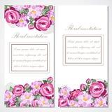 Wektorowa zaproszenie karta z różowymi różami dla poślubiać, małżeństwo, urodziny Zdjęcia Stock
