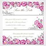 Wektorowa zaproszenie karta z różowymi różami dla poślubiać, małżeństwo, urodziny, walentynka dzień Fotografia Stock