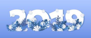 Wektorowa zima 2019 nowy rok liczb płatek śniegu lód royalty ilustracja