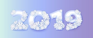 Wektorowa zima 2019 nowy rok liczb płatek śniegu lód ilustracji