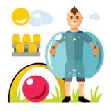 Wektorowa Zorbing piłka nożna Rekordowa piłka Nadmuchiwany Zorb Plenerowego sporta gra Mieszkanie kreskówki stylowa kolorowa ilus ilustracja wektor