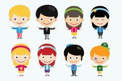 Wektorowe śliczne kreskówek chłopiec wpólnie, dziewczyny i Zdjęcia Stock