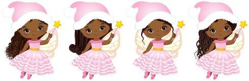 Wektorowe Śliczne Małe Bożenarodzeniowe czarodziejki z Magiczny różdżek Latać ilustracji