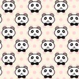 Wektorowe śliczne pandy z czarnym łęku wzorem royalty ilustracja