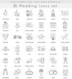 Wektorowe ślubu konturu linii ultra nowożytne ikony dla sieci i apps Zdjęcia Royalty Free