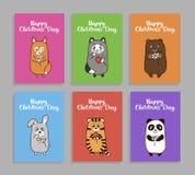 Wektorowe śmieszne zwierzę karty dla children dnia Obrazy Royalty Free