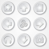 Wektorowe abstrakcjonistyczne białe round papieru ikony multimedie Zdjęcia Royalty Free