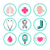 Wektorowe astma ikony Zdjęcia Stock