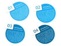 Wektorowe błękitne zaokrąglone papierowe opcj etykietki Zdjęcia Royalty Free