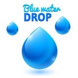Wektorowe błękitnych wod krople Zdjęcia Royalty Free