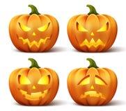 Wektorowe banie z setem różne twarze dla Halloween ikony ilustracji