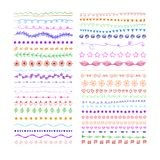 WEKTOROWE Barwione Doodle Divider linie, ręki Rysować rocznika stylu ilustracje Ustawiać, tło royalty ilustracja