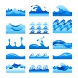 Wektorowe bezszwowe gradientowe błękitne wody fala płytki ustawiać ilustracja wektor