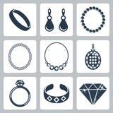 Wektorowe biżuterii ikony ustawiać ilustracji
