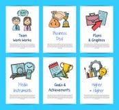 Wektorowe biznesowe doodle ikony gręplują szablon ustawiającą ilustrację ilustracja wektor