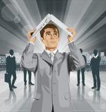 Wektorowe Biznesowego mężczyzna kryjówki Pod laptopem Obrazy Stock