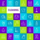 Wektorowe Cleaning linii ikony Obrazy Royalty Free