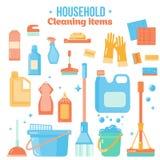 Wektorowe cleaning rzeczy w mieszkanie stylu z kiści butelki, wiadra, kwacza i gospodarstwa domowego dostawami, Sanitarny i desin Fotografia Stock
