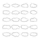 Wektorowe cumulus chmury ustawiać w konturu stylu royalty ilustracja