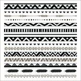 Wektorowe czarne abstrakcjonistyczne plemienne bezszwowe wzór granicy royalty ilustracja