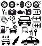 Wektorowe czarne auto ikony ustawiać ilustracji
