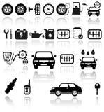 Wektorowe czarne auto ikony ustawiać ilustracja wektor
