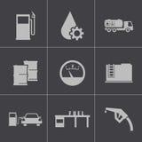 Wektorowe czarne benzynowej staci ikony ustawiać Zdjęcia Royalty Free