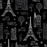 Wektorowe Czarne Białe Paryskie ulicy Podróżują Bezszwowego Obraz Royalty Free