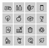 Wektorowe czarne eco ikony ustawiać Obrazy Royalty Free