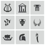 Wektorowe czarne Greece ikony ustawiać Obrazy Stock
