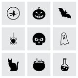 Wektorowe czarne Halloween ikony ustawiać Zdjęcie Stock