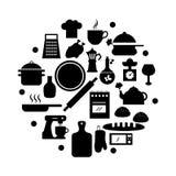 Wektorowe czarne karmowe ikony ustawiać Obrazy Royalty Free