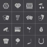 Wektorowe czarne kasynowe ikony ustawiać Obraz Royalty Free