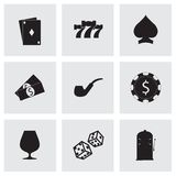 Wektorowe czarne kasynowe ikony ustawiać Zdjęcie Stock