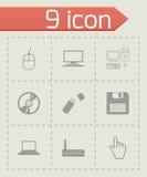 Wektorowe czarne komputerowe ikony ustawiać Zdjęcia Stock