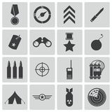 Wektorowe czarne militarne ikony Fotografia Stock
