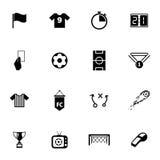 Wektorowe czarne piłek nożnych ikony ustawiać Fotografia Stock