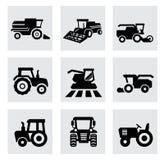 Wektorowe czarne rolnicze przewiezione ikony ustawiać ilustracja wektor