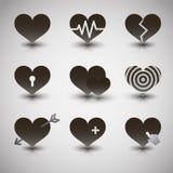 Wektorowe czarne serce ikony ustawiać Fotografia Stock