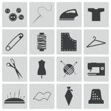 Wektorowe czarne szwalne ikony Obraz Royalty Free