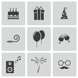 Wektorowe czarne urodzinowe ikony ustawiać Obraz Royalty Free