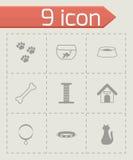 Wektorowe czarne zwierzę domowe ikony ustawiać Obraz Royalty Free