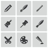 Wektorowe czarnej sztuki narzędzia ikony ustawiać Obraz Stock